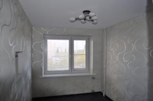 Тканевый натяжной потолок в спальне на просвещеия