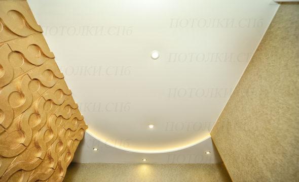 матовый, двухуровневый натяжной потолок фото