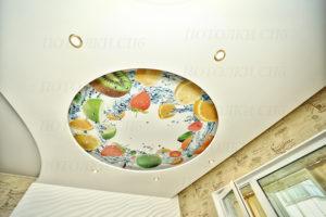 фотопечать натяжной потолок , двухуровненвый