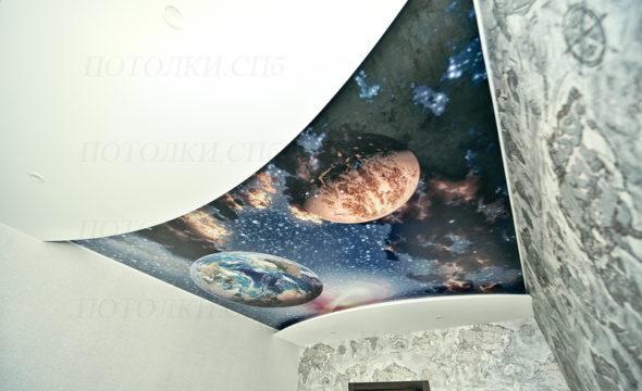 натяжной потолок с фотопечатью в детской фото