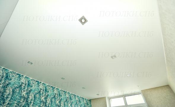 Просвещения белый натяжной потолок в гостиной 1